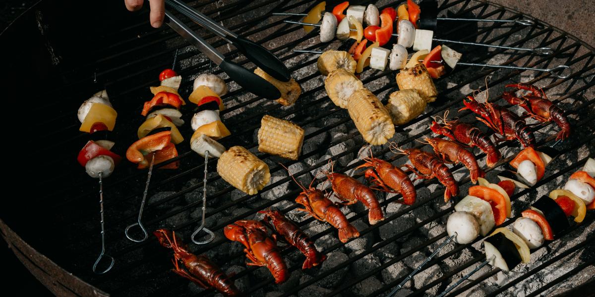 rivierkreeft op de barbecue